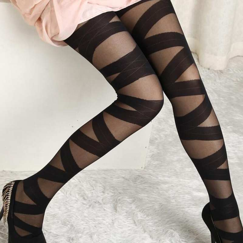 2019 Sexy Women Stockings Hot Newest Striped Printed Pants Goth Rocker Cross Bandage Straps Pants Pantyhose Tights Stockings