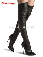 Sexy Autumn Winter Women Boots Stretch Slim Thigh High Boots Fashion High Heel Over The Knee