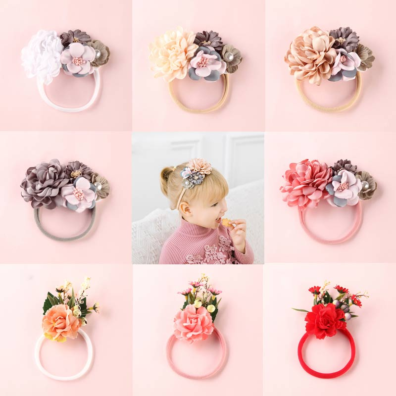 Sale Lovely Baby Headband Big Fake Flower Nylon Hair Bands For Kids Artificial Floral Elastic Head Bands   Headwear