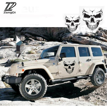 ZD Punisher Skull For Skoda Octavia A5 A7 2 Fabia Yeti BMW E60 F30 X5 E53 Inifiniti Car Vent Hood Tire Reflective Decal Stickers image