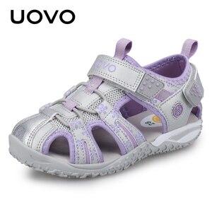 Image 1 - Uovo 새로운 도착 2020 여름 해변 샌들 키즈 휴관일 발가락 유아 샌들 어린이 패션 디자이너 신발 여자 #24 38