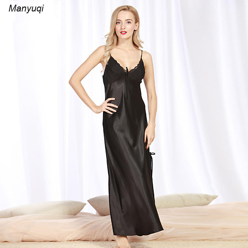 Silk Gowns For Women: 3 Colors Women's Silk Sexy Nightgown Side Vents Long Women