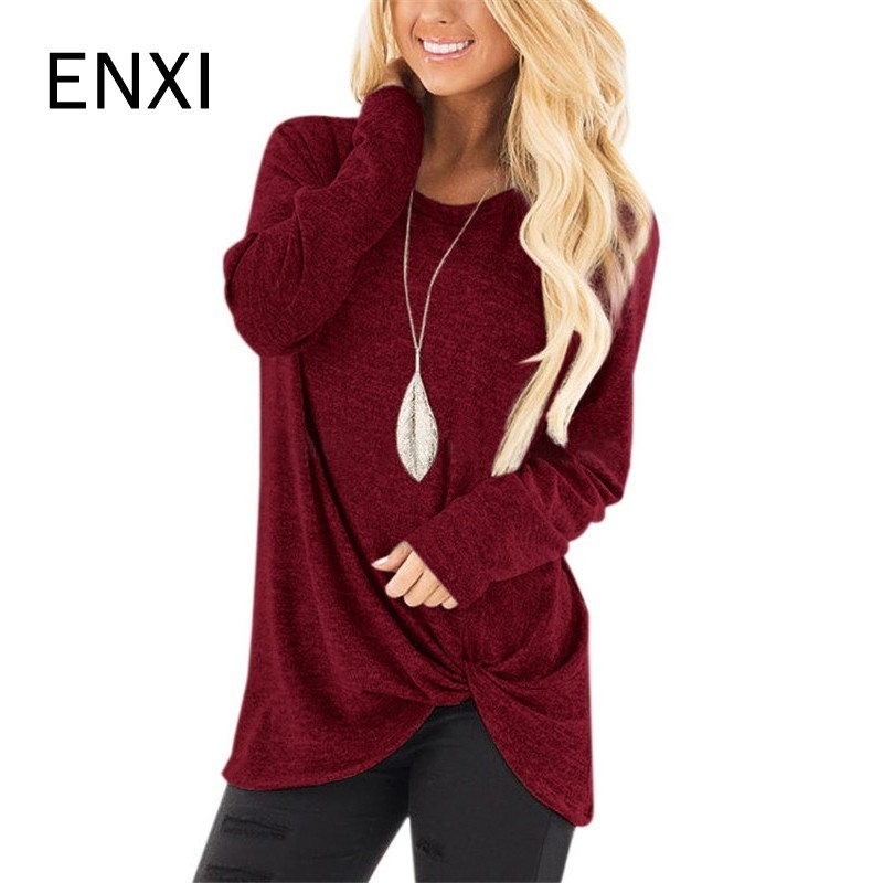 ENXI 2018 Autunm Pregnancy Tees Women Maternity Clothes Nursing Tops Long Sleeve Clothing For Pregnant Blouse