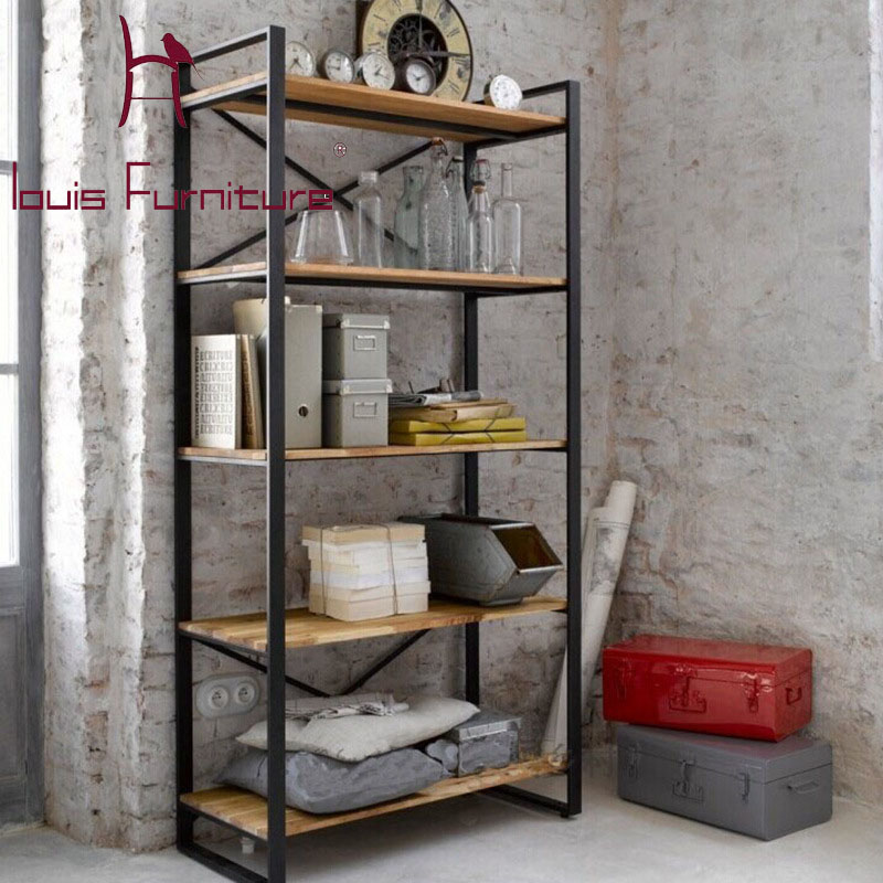 Louis Fashion American Retro Shelf Iron Wood Customized