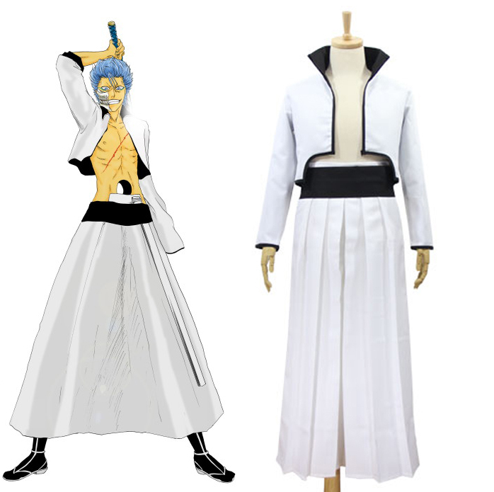 Bleach Grimmjow Jaggerjack Cosplay Costume Jeagerjaques Full Set White Kendo Kimono Jacket Pants Belt Hallowee Costumes