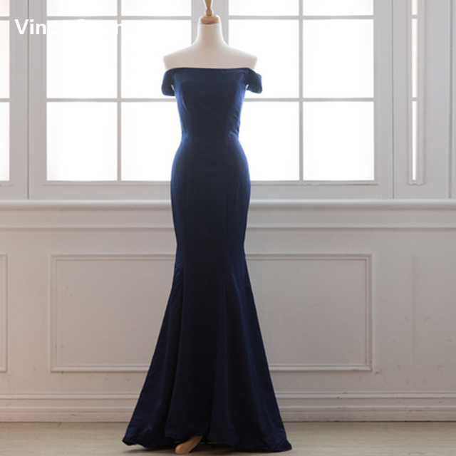 Vinca Sunny Real Photo Sexy Strapless Satin Sexy Bridesmaid Dresses 2018  Mermaid Vestido De Festa De Casamento Navy Blue Party 603c0d911eec