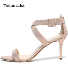 Women Rose Gold High Heel Sandals for Wedding Strappy Daily Heels Heeled Dress Shoes Elegant Ladies Summer Shoes Plus Size 2018