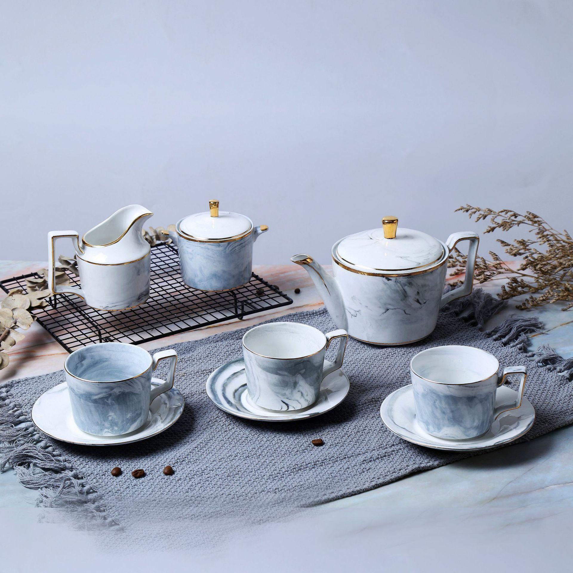 Оригинальное Мраморное зерно керамики чайник Северной Европы английский стиль чашки и диск костяного фарфора кофе обслуживание подарочны...