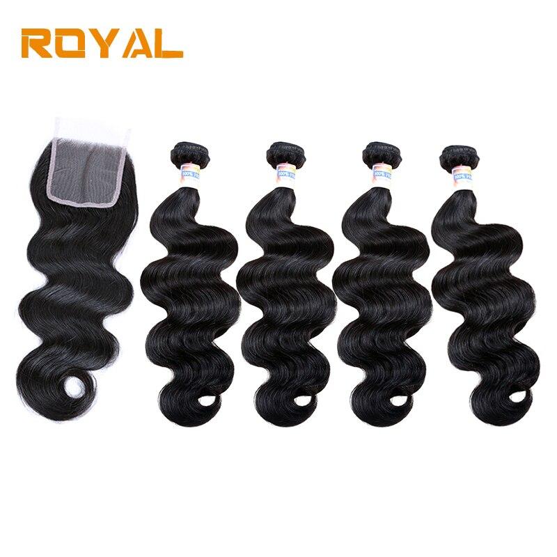 4 Bundles Human Hair Weaves With Closure Peruvian Body Wave Hair Bundles With Lace Closure Non Remy Royal Hair Weave Royal