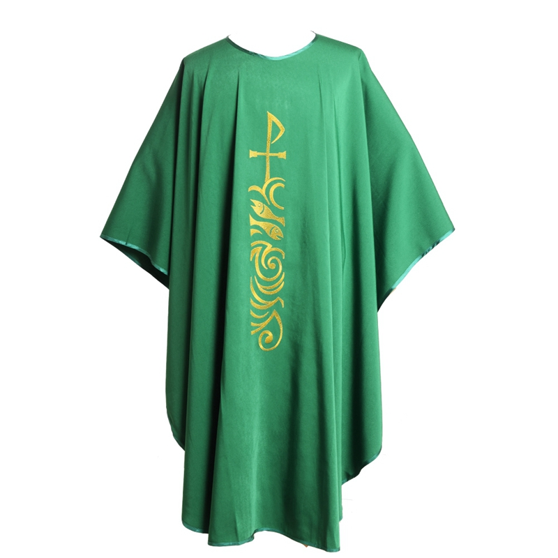 Green Catholic Church Priest Chasuble Vestments Roll Collar Robe Clergy Apparel clergy omnibus