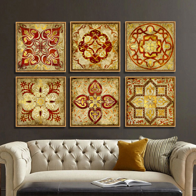 4 Piece Canvas Art Moroccan Style Gold National Decoration
