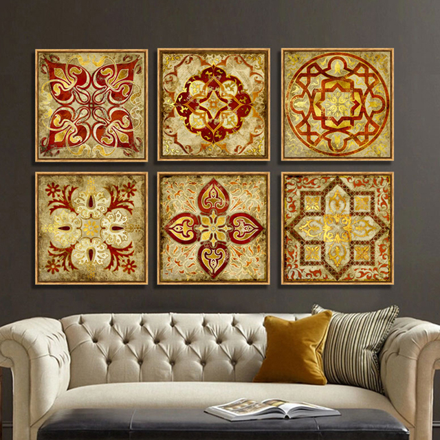 4 piece canvas art Moroccan style Gold national decoration pattern