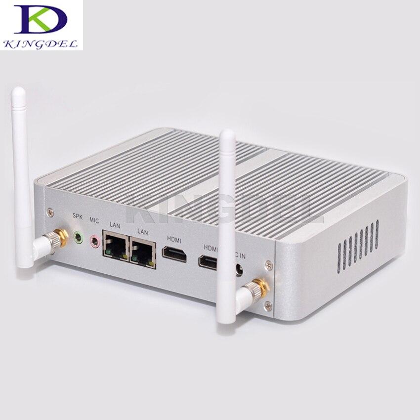 Kingdel double LAN double HDMI Mini PC Intel Celeron N3150 Quad Core HTPC sans ventilateur ordinateur de bureau avec 8 GB RAM 256 GB SSD Wifi Windows 10