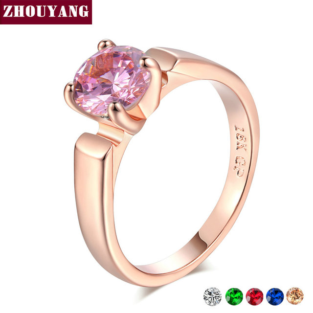 Anel de Casamento Para As Mulheres ZHOUYANG 4 Garras 7mm Opcional Multicolor Cubic Zirconia Clássico Cor de Rosa de Ouro Moda Jóias R053 r822