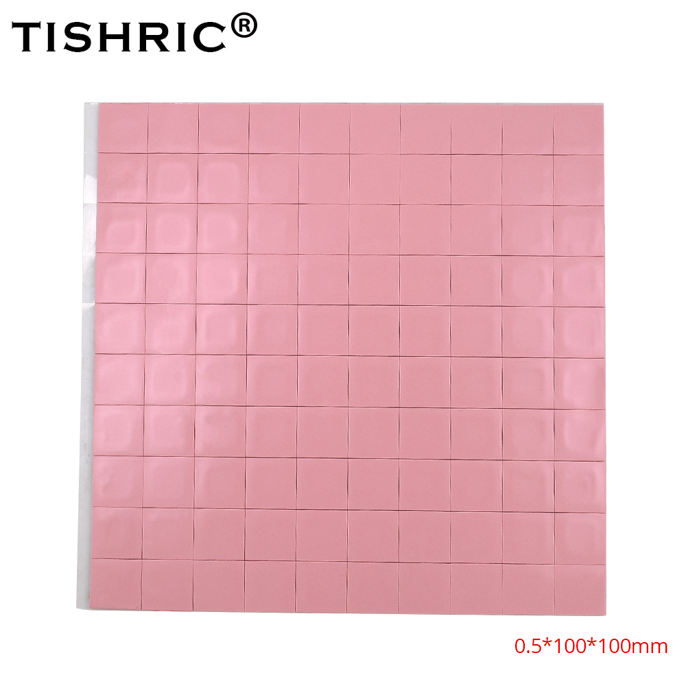 TISHRIC Red GPU CPU Thermal Pads 0.5mm Cooler Conductive Silicone Pad Heatsink 100*100*0.5mm PC Fan Cooling Heat Sink