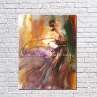 The latest Handpainted character Oil Painting dancer woman dancing wall art on Canvas for Room home Decor Picture no Framed