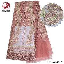Nieuwe komende Afrikaanse kant stof met kralen ontwerp borduurwerk tule kant materiaal Franse netto kant stof voor feest BGW-35