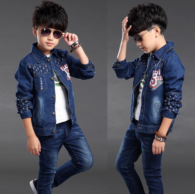 Fashion Childrren Clothing Sets Hole Denim Jacket Autumn Kids Clothes Boys Sports Suit Print Ensemble Garcon Two-piece Jeans