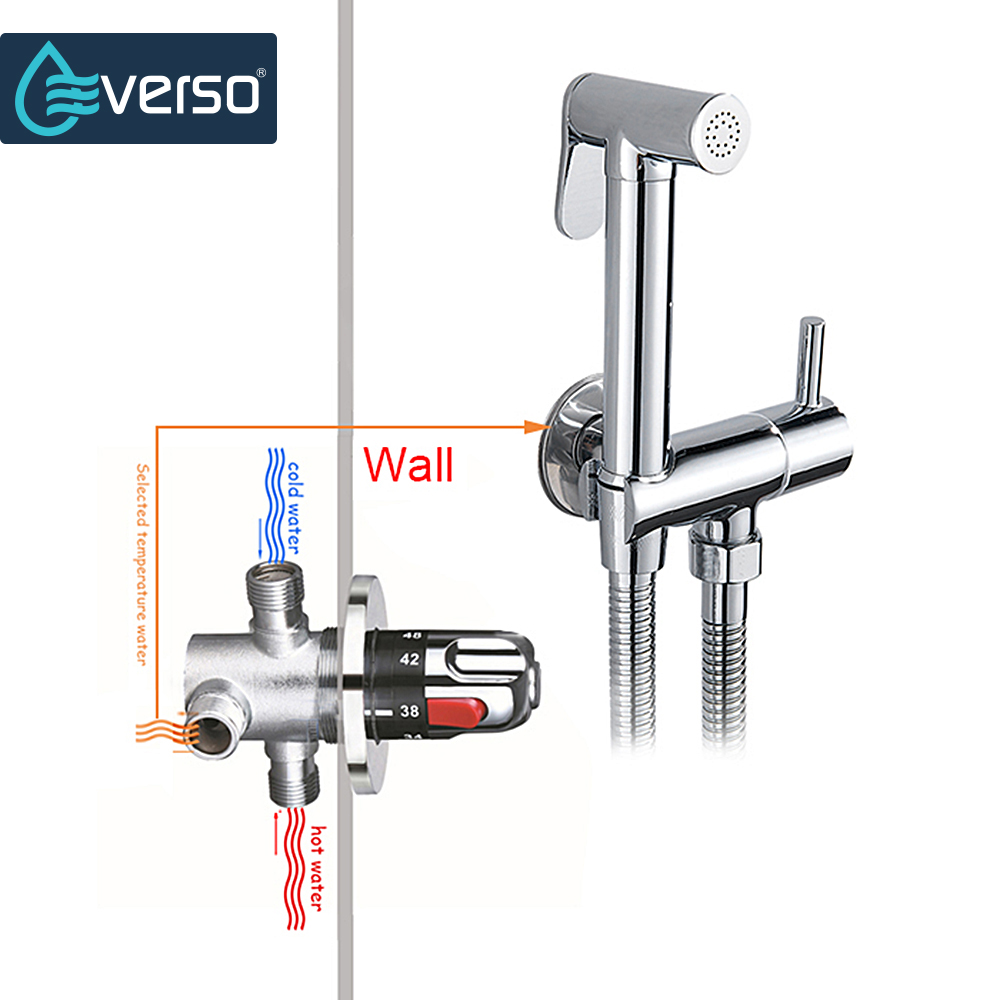 EVERSO Bathroom Shower Faucet Set Waterfall Shower Faucets Thermostatic Mixing Valve Thermostatic Shower Mixer bathroom thermostatic shower faucet shower head set wall mount shower faucet mixer brass shower faucet thermostatic mixing valve
