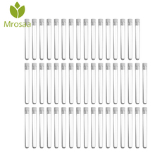 Hot Sale Mrosaa 50pcs/pack Transparent Laboratory Clear Plastic Test Tubes Vials With Push Caps School Lab Supplies 12x100mm