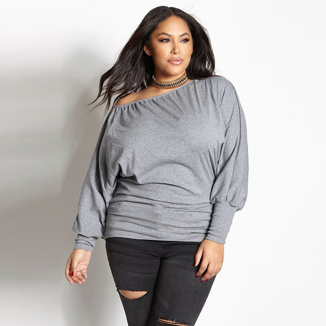 baab49ddec3 Sexy Plus Size Women Shirt Solid Color Long Puff Sleeve Off Shoulder Shirts  2018 Fashion Casual Gray Loose 3XL Girls Tops Blusa