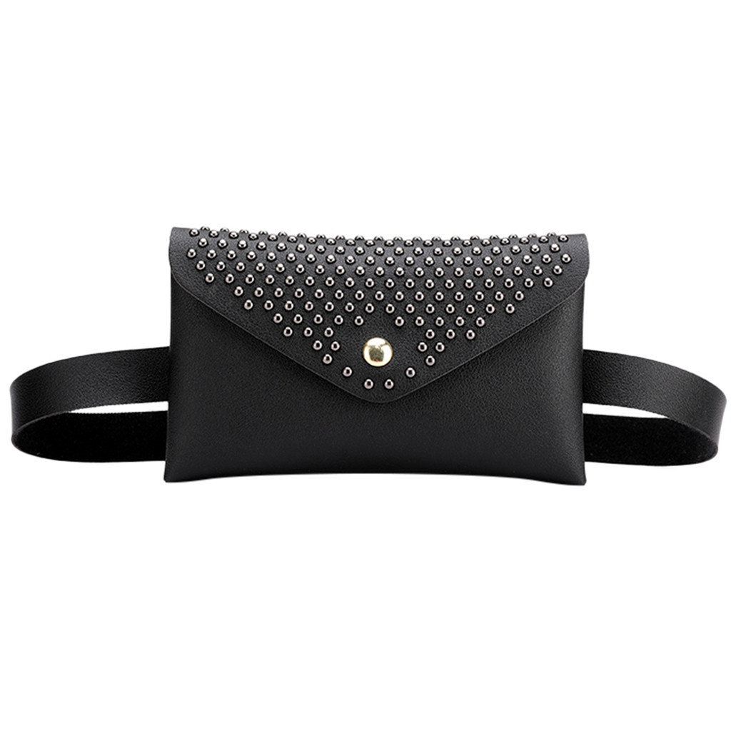 Fanny Pack Women Belt Bag Rivet Waist Bag Women's Pure Color PU Leather Messenger Shoulder Bag Phone Pouch Punk Belt Bag Purse