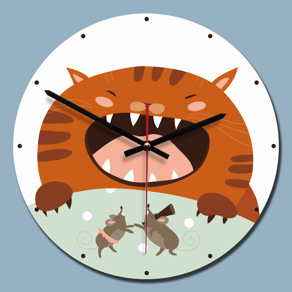 11 Inch Creative Modern Wall Clock Acrylic Painting Cute Cat 3D Wall Watch Kids Room Decoration Relogio De Parede