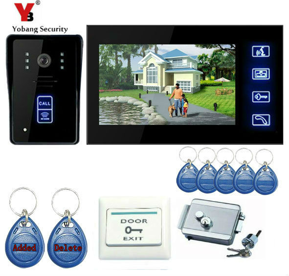 YobangSecurity Touch Key 7Inch Video Door Phone Doorbell Intercom Entry System Home Security With RFID Keyfobs,Electronic Lock yobangsecurity 7 inch video door phone intercom doorbell home entry intercom system kit 1 monitors 1 camera with rfid id keyfobs