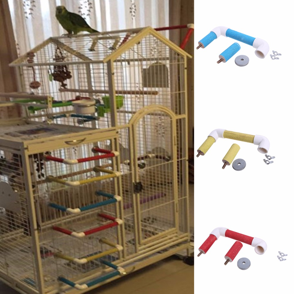 Pet Bird Parrot Cage Perch Stand Platform Paw Grinding Chew Bite Playing Toys Red/Yellow ...