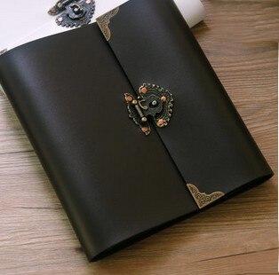 кожаные фотоальбомы | Потрясающе! Высший сорт ручной работы кожаный чехол фотоальбом винтажный тиснение память бумага набор для скрапбукинга 30 листов черный лис...