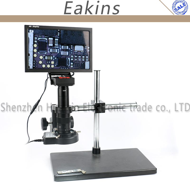 16MP 1080P HDMI Industrial Video Camera Microscope Set + 180X 300X C-Mount Lens + Boom Stand Integrated 10 HD IPS Monitor Phone