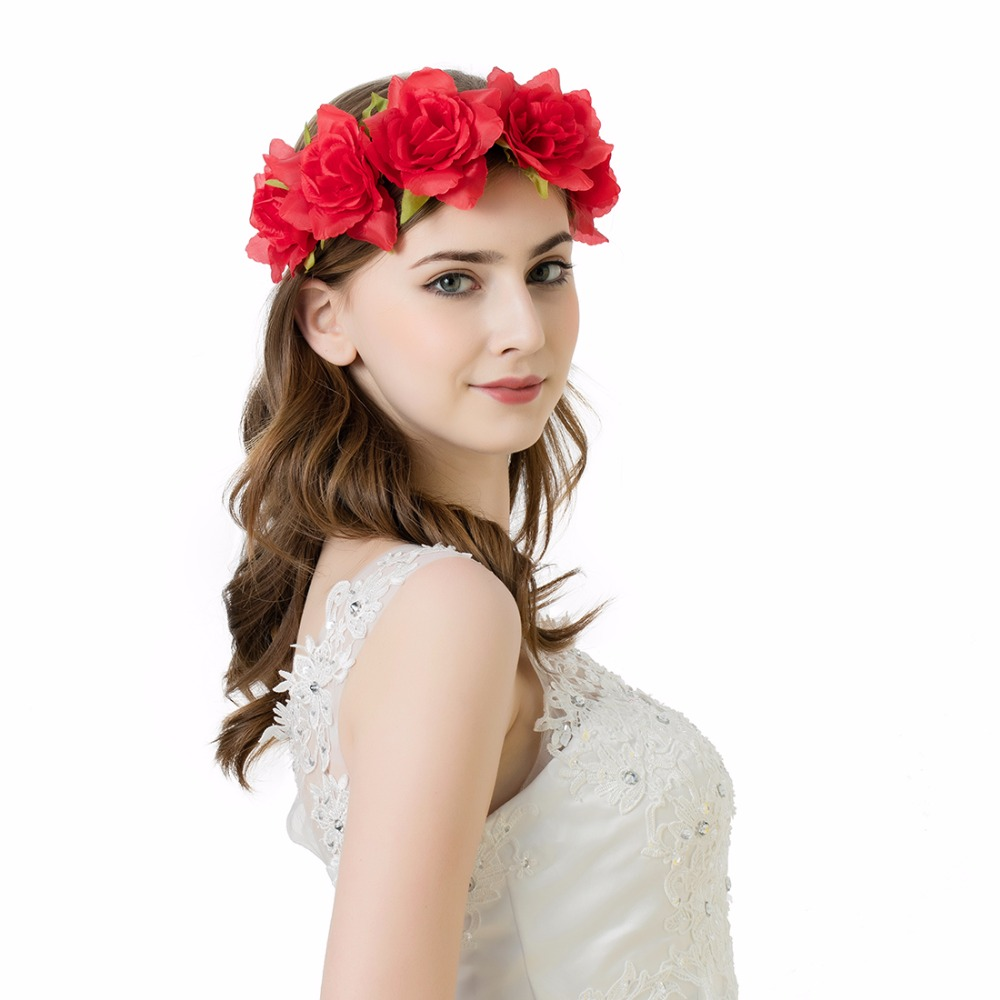 Awaytr Hair Flower Accessories Wedding 2017 New Red Black Fabric