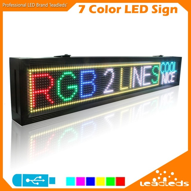 LLDP10-16128RGB Led Advertising Display Board USB Programmable Full Color Letters SMD Scrolling Led Display Indoor 7 Color LED