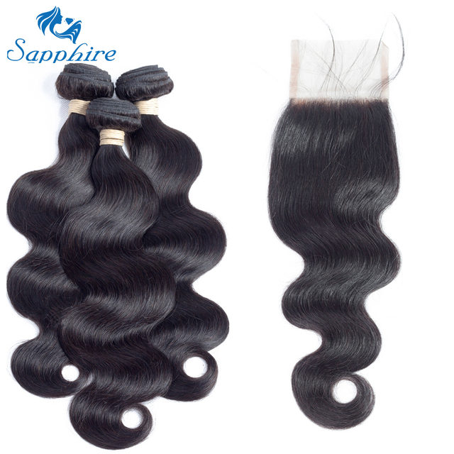 Sapphire Body Wave Human Hair Bundles With Closure 1B# Color For Hair Salon High Ratio Longest Hair PCT 15% Brazilian Human Hair