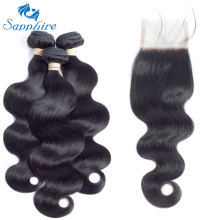 Sapphire Body Wave Human Hair Bundles With Closure 1B# Color For Hair Salon High Ratio Longest Hair PCT 15% Brazilian Human Hair
