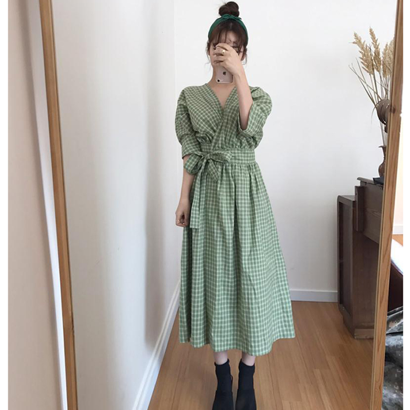 Summer Women Dress 2018 V Neck Plaid Dress Long Belt Sash Dress Vestido slim Robe Dresses women clohing Office Lady