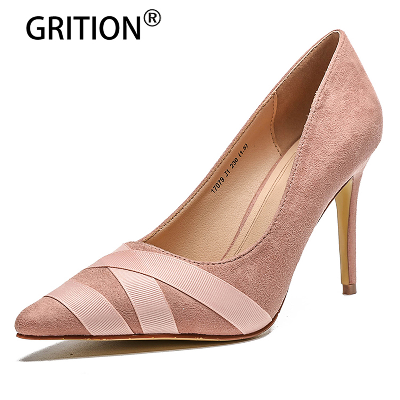 GRITOIN 2018 New Spring/Autumn Fashion High-heel Shoes Sexy Pointed Toe Thin Heels Casual Shoes Lightweight Comfortable new 2016 spring autumn summer fashion casual flat with shoes breathable pointed toe solid high quality shoes plus size 36 40