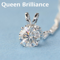Queen Brilliance Solid 18K 750 White Gold Beautiful 1 Ct F Color Lab Grown Moissanite Diamond