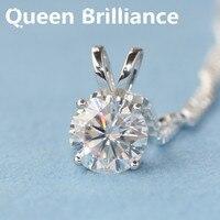 Nữ hoàng Brilliance Rắn 18 K 750 White Gold Đẹp 1 Ct F màu Lab Grown Moissanite Kim Cương Mặt Dây Chuyền Vòng Cổ 4 Prong Cho Phụ N