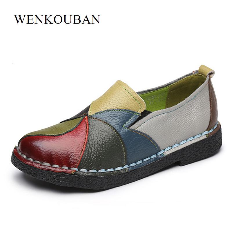 Genuine Leather Shoes Women Flats Slip On Summer Loafers Moccasin Ladies Casual Shoes Mixed Colors Ballerina Zapatos Mujer instantarts women flats emoji face smile pattern summer air mesh beach flat shoes for youth girls mujer casual light sneakers