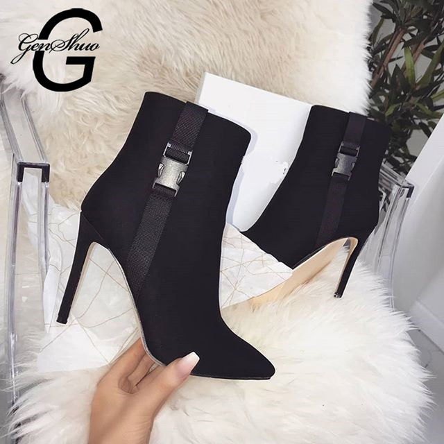 GENSHUO Black Ankle Boots High Heels for Women Shoes Pointed Toe High Thin Heel Botas Mujer Botte Femme