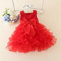 Hot Lace Flower Girls Wedding Dress Baby Christening Cake Dresses For Party Occasion Kids 1 Year