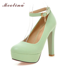 Meotina High Heels Shoes Women Platform Pumps Ankle Strap Sexy Bridal Wedding Shoes Extreme High Heels Purple Green White 34-39