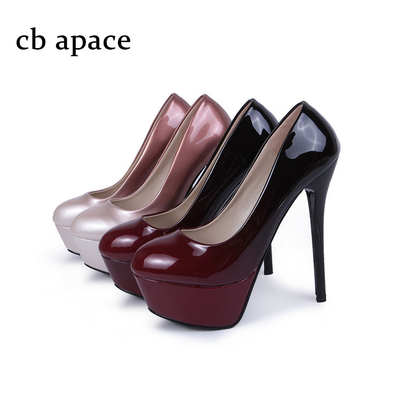 ФОТО  Women's Sexy Super High Heels Nightclub Stilettos Ankle Pumps Shoes Waterproof Platform 5 cm Patent Leather Shoes Slip On