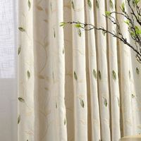 High Quality Linen Leaves Embroidered Bedroom/ Living Room Curtains Window Roman Quality Eyelet Curtain rideaux cuisine CL-20