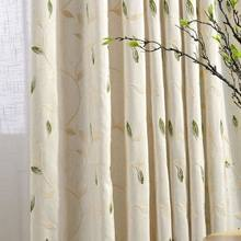 High Quality Linen Leaves Embroidered Bedroom/ Living Room Curtains Window Roman Quality Eyelet Curtain rideaux cuisine CL-20(China)