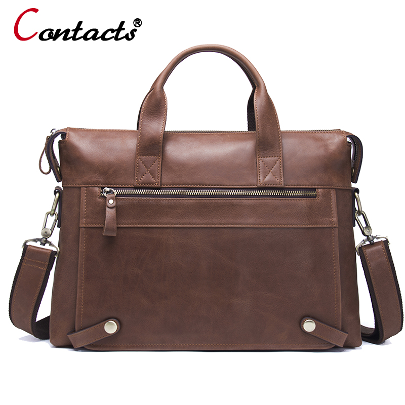 CONTACT'S Genuine Leather Men Bag Men Briefcases male shoulder business Computer Laptop Bags Crossbody Bags Mens Messenger Bag j quinn men leather briefcases bags business shoulder crossbody genuine handbag messenger laptop pack for male travel mens bag