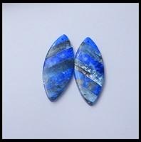 Semiprecious Stone Geometric Lapis Lazuli Blue Kyanite Earring Beads 41x16x4mm 10.02g Natural Stone Women Earrings Accessories