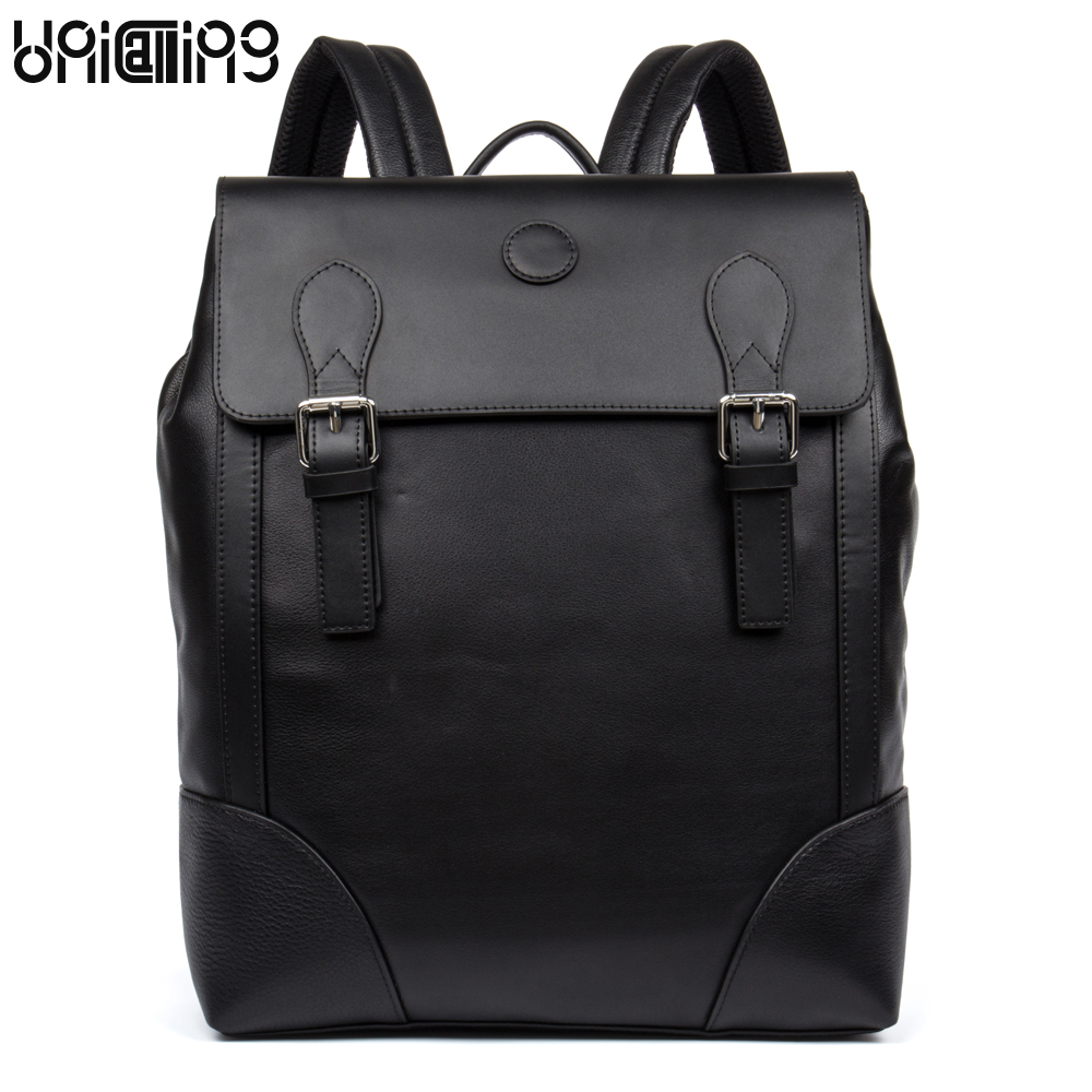UniCalling men genuine leather backpack new style men quality cow leather male backpack fashion brand laptop business backpack unicalling denim