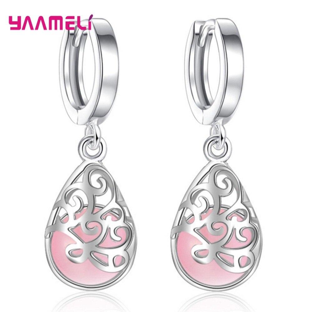 Trendy Drop Earrings Women Fashion Moonlight Cat's Eye Love Wishing Pool 925 Silver Earrings Factory direct Hot Sale